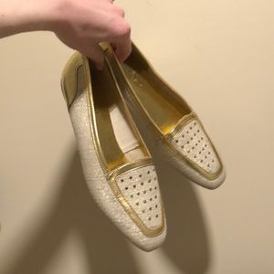 80s Gold and Tan Woven Flats